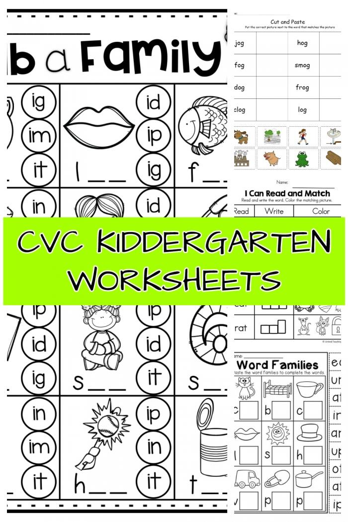 Printable CVC Worksheets Kindergarten