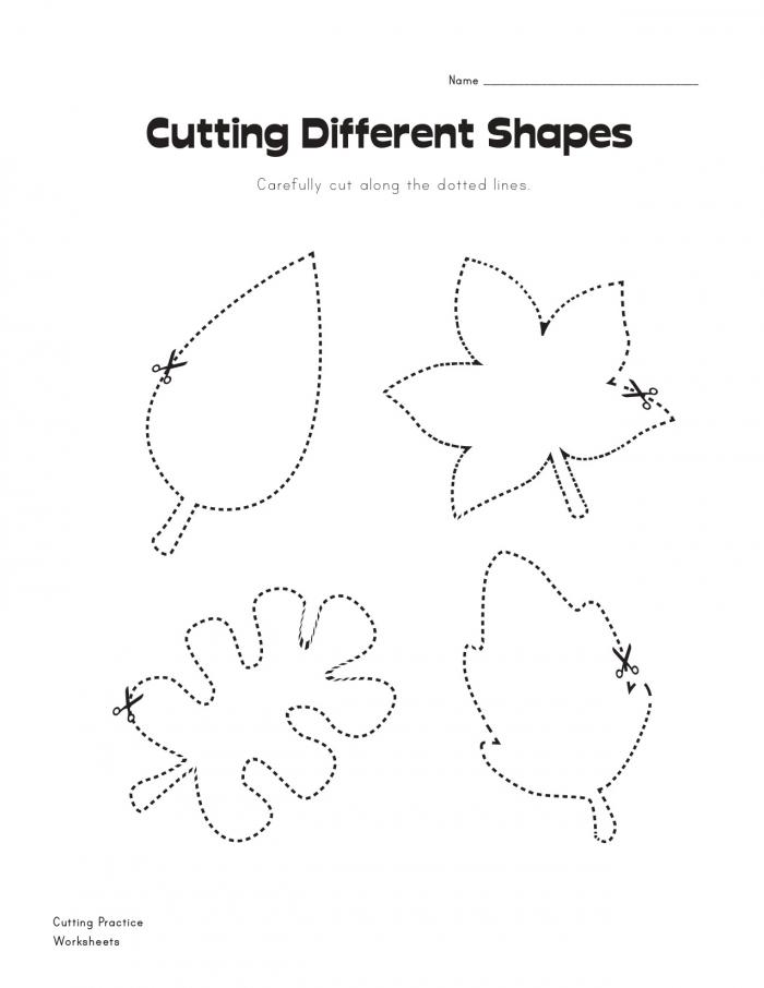 Cutting Leaves Fall Worksheet