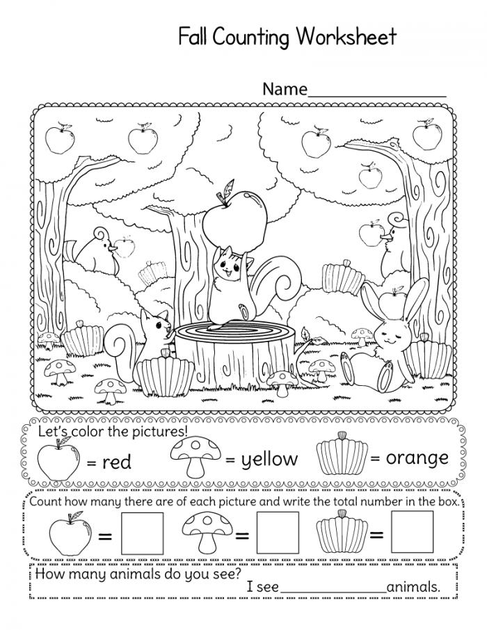 Fall Kindergarten Counting Worksheets