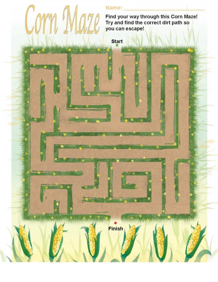 Fall Kindergarten Worksheets Fall Corn Maze