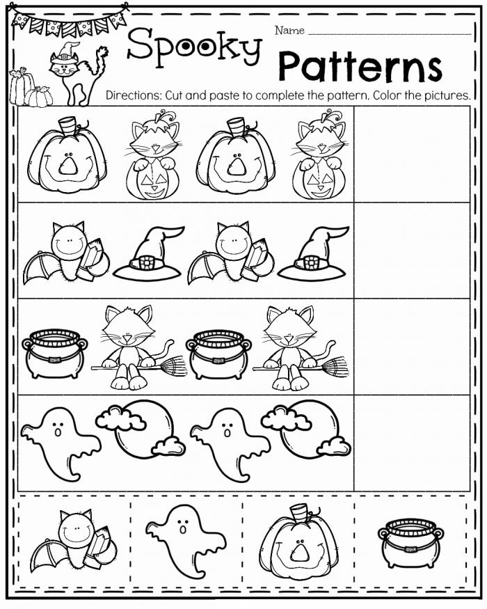 Fall Kindergarten Worksheets Spooky Patterns