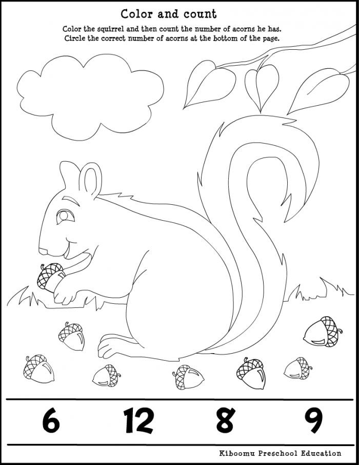 Fall Math Squirrel Worksheet for Kids