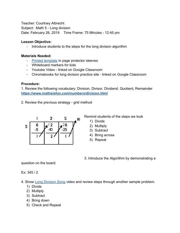 Introduction To Division Lesson Plans