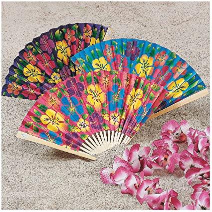 Amazoncom Hibiscus Folding Fans