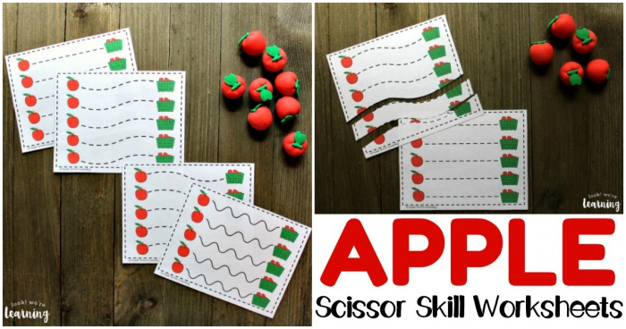 Apple Harvest Apple Cutting Practice Worksheets