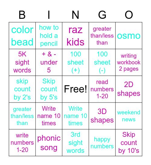 Auntie Rachel Summer Camp Bingo Card