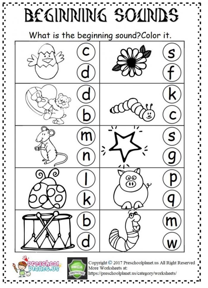 Beginning Sound Worksheet Preschoolplanet
