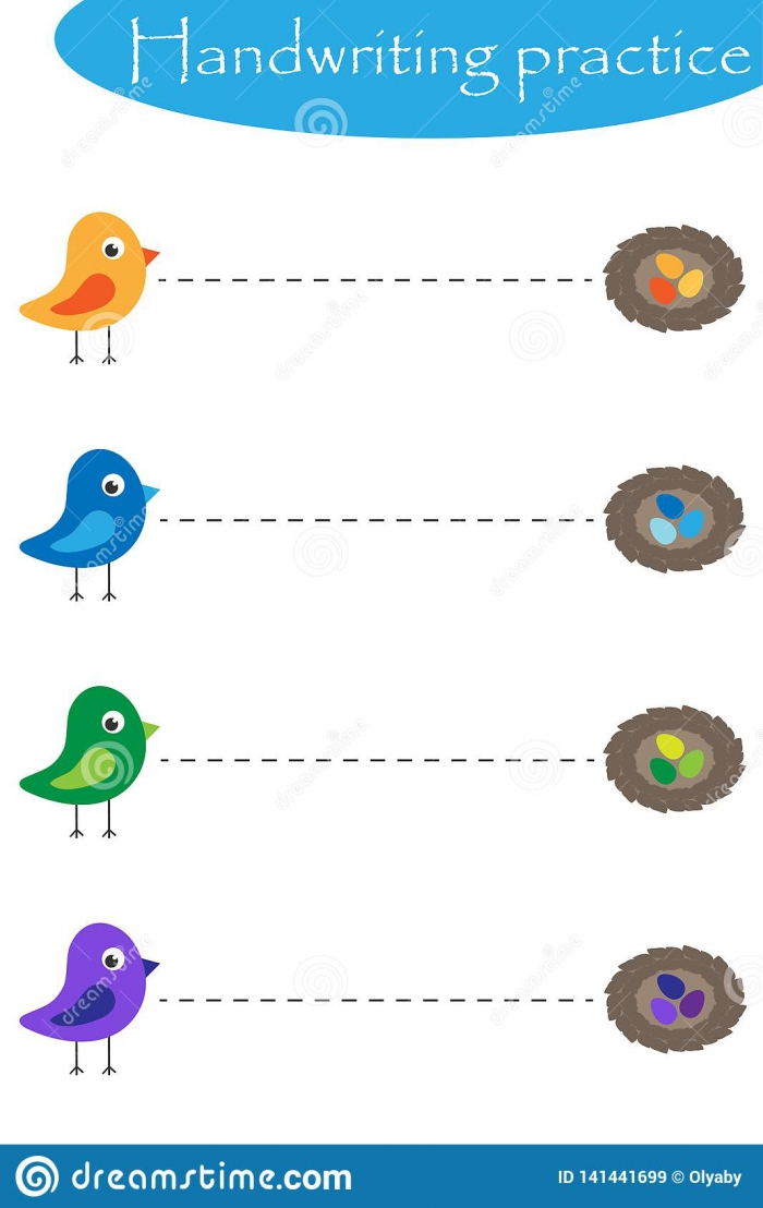 Birds And Nestis Spring Handwriting Practice Sheet Kids