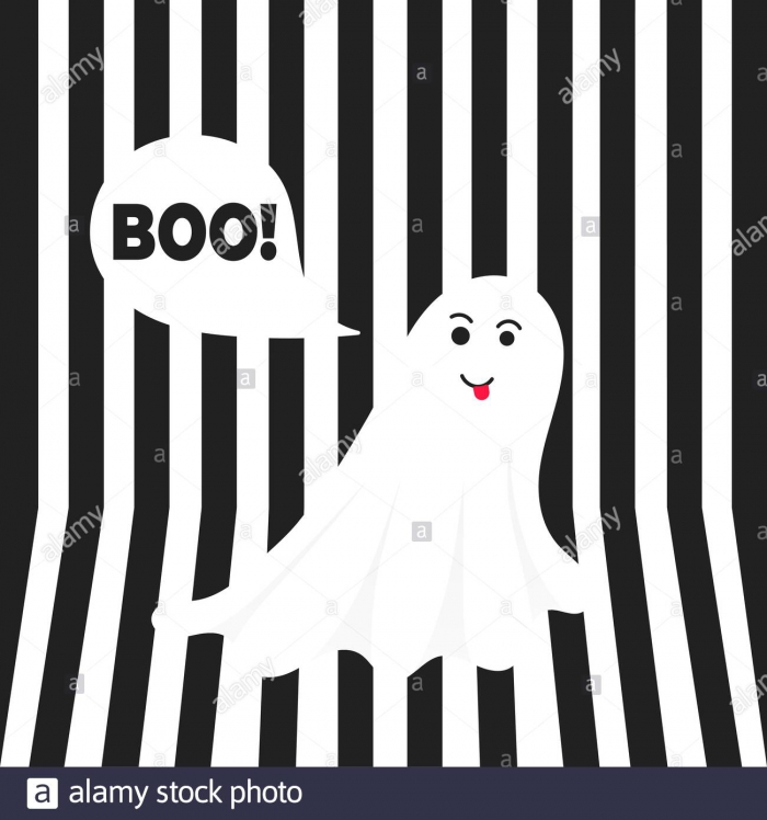 Boo Ghost Halloween Message Concept Flying Halloween Funny Spooky