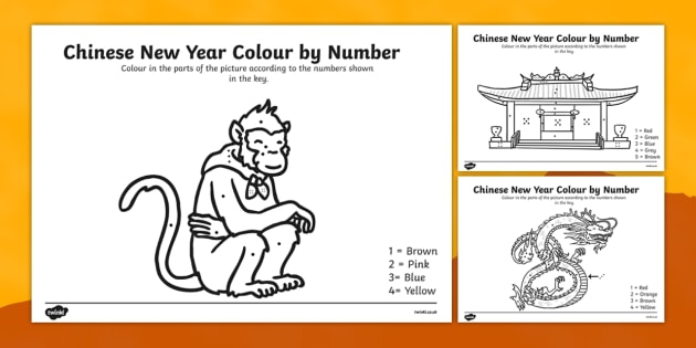 Chinese New Year Colouring By Numbers Worksheet