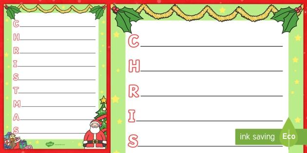 Christmas Acrostic Poem Template Teacher Made