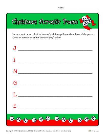 Christmas Acrostic Poem Worksheet Activity For Kids