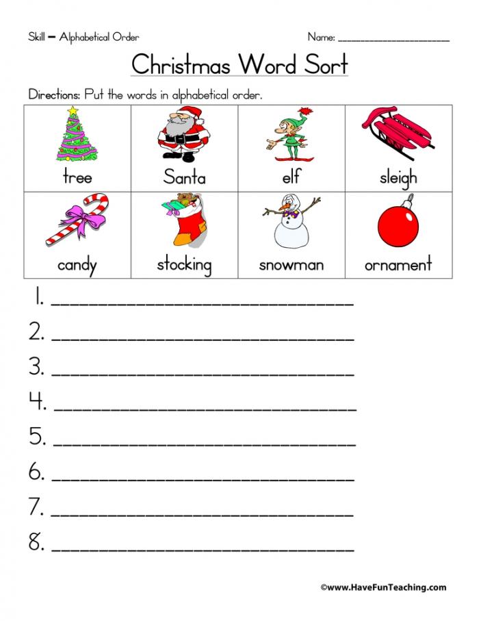 Christmas Alphabetical Order Worksheet Have Fun Teaching