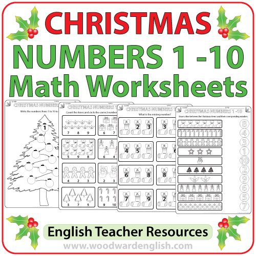 Christmas Math Worksheets Numbers To Woodward English