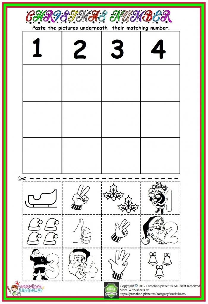 Christmas Number Worksheet Preschoolplanet