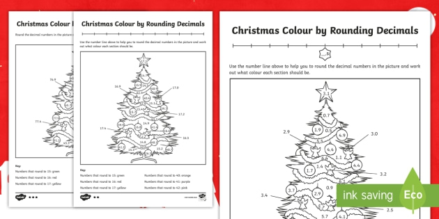 Christmas Themed Color By Rounding Decimals Differentiated Worksheet