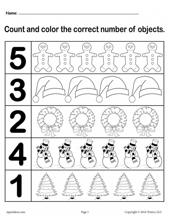 Christmas Themed Count And Color Worksheets Printable