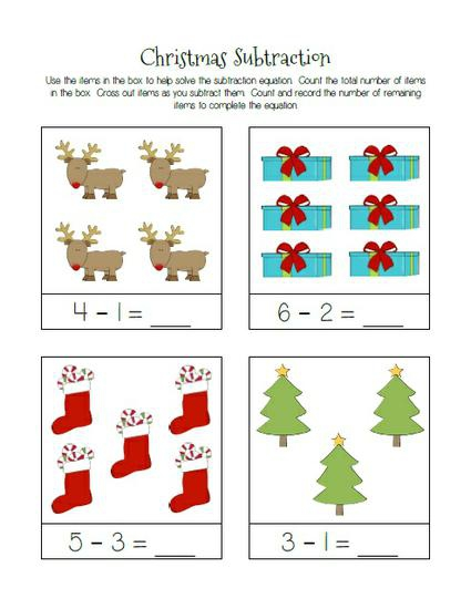 Christmas Themed Subtraction Practice Worksheets Supplyme