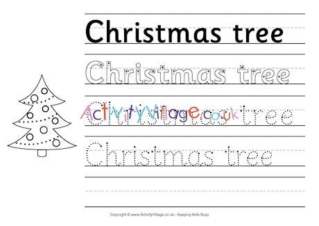 Christmas Tree Handwriting Worksheet
