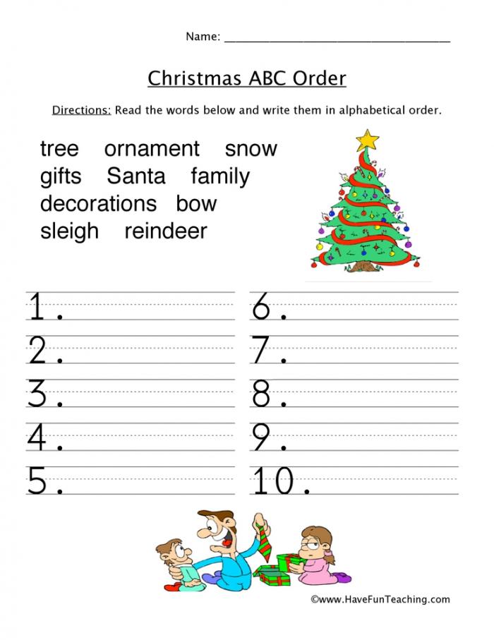 Christmas Words Abc Order Worksheet Have Fun Teaching