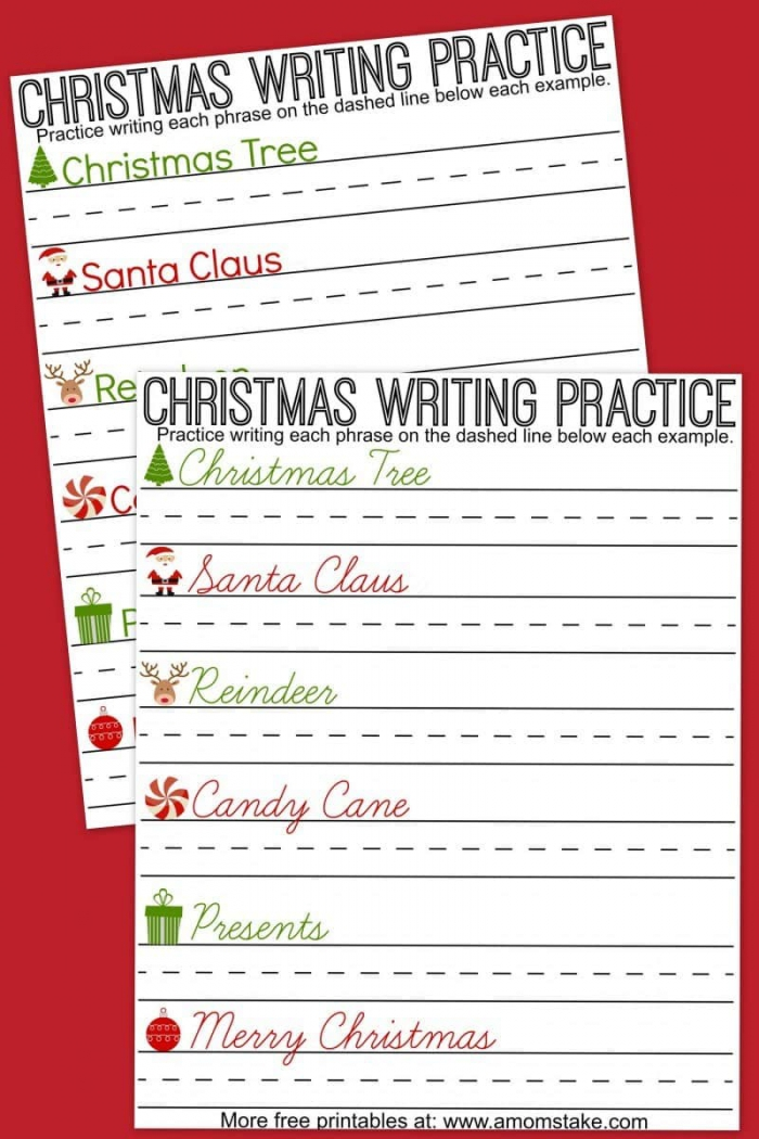 Christmas Writing Practice Sheets