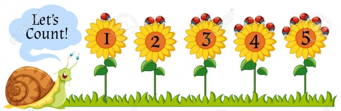 Counting Numbers On Sunflowers Illustration Royalty Free Cliparts