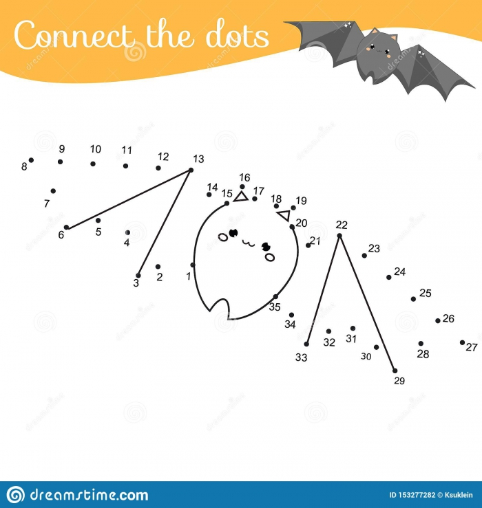 Crtoon Bat Connect The Dots Dot To Dot By Numbers Activity For