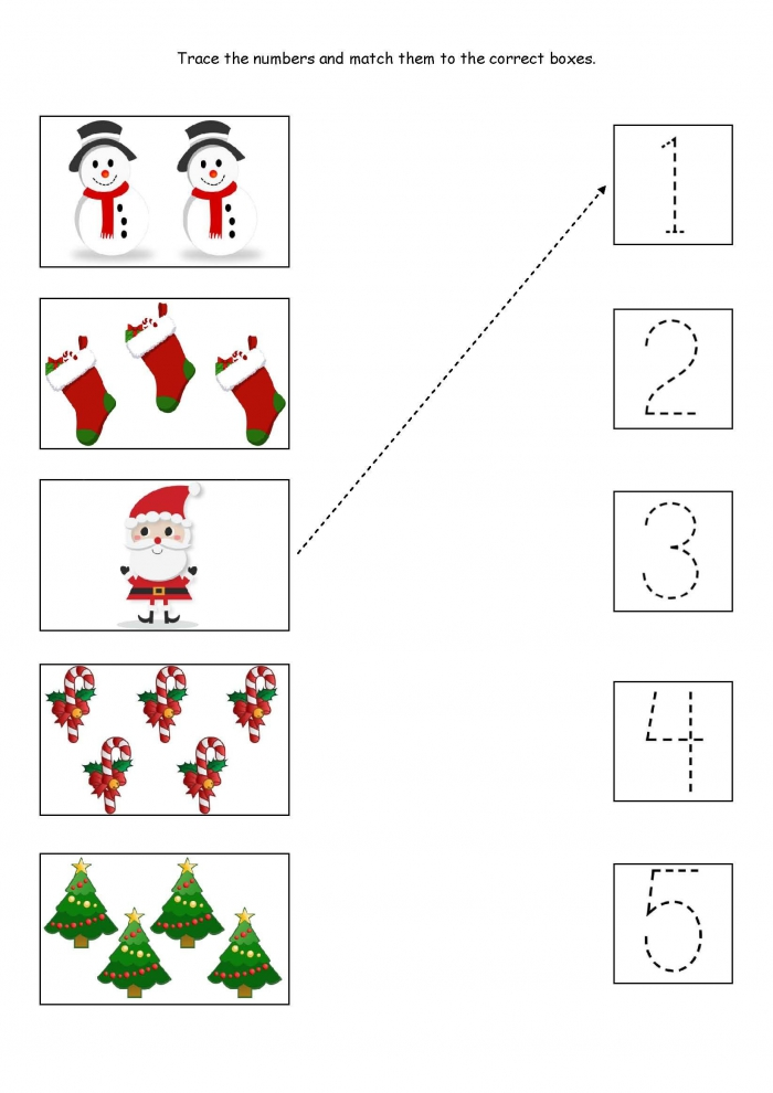 Cute Little Christmas Counting Matching And Tracing Worksheet
