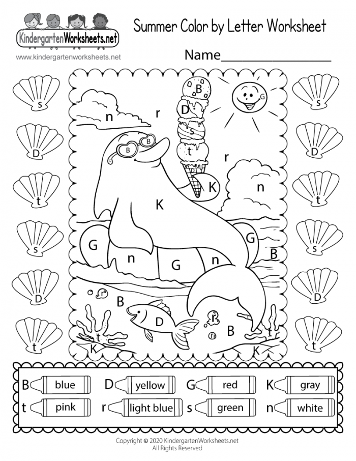Cute Summer Coloring Page For Kindergarten
