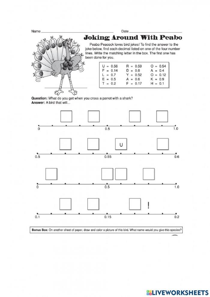 Decimals On A Number Line Worksheet