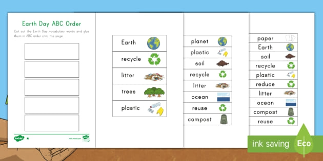 Earth Day Abc Ordering Worksheet