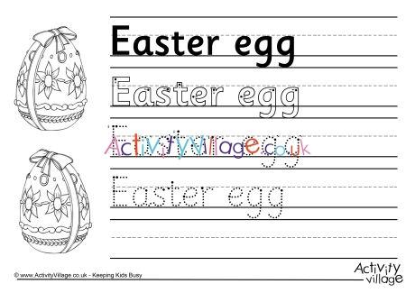 Easter Egg Handwriting Worksheet
