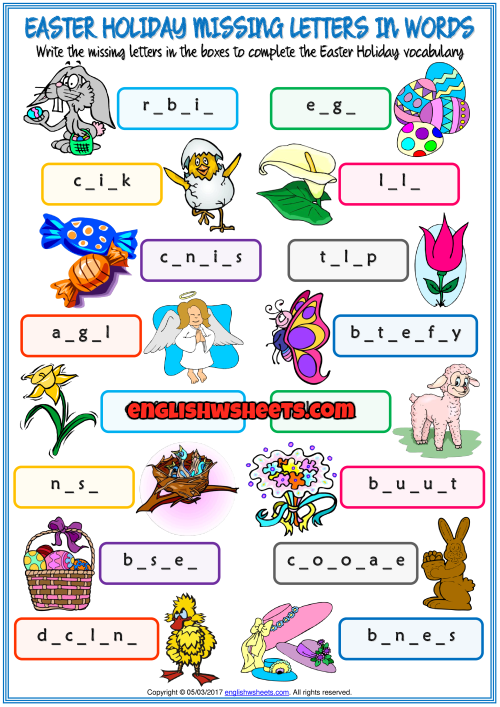 Easter Holiday Missing Letters In Words Exercise Worksheet