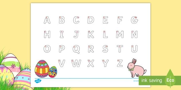 Easter Uppercase Alphabet Tracing Worksheet Worksheet