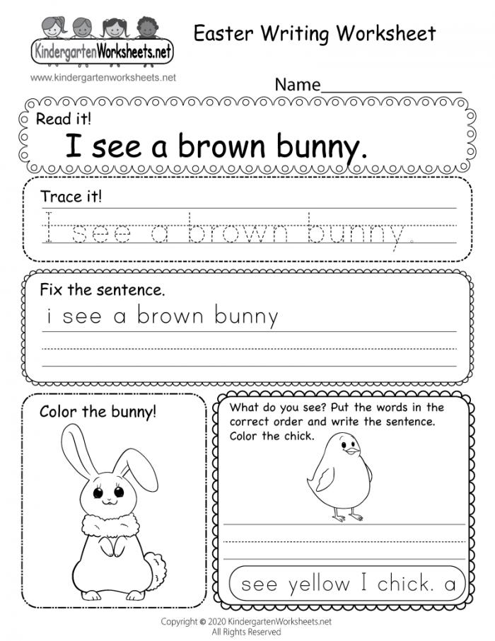 Easter Writing Worksheet For Kindergarten