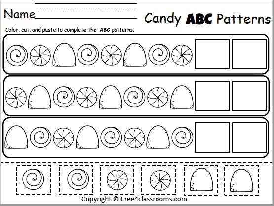 Free Christmas Candy Patterns Worksheet