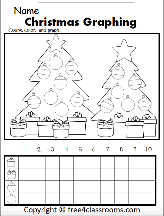 Free Christmas Color Count And Graph Worksheet