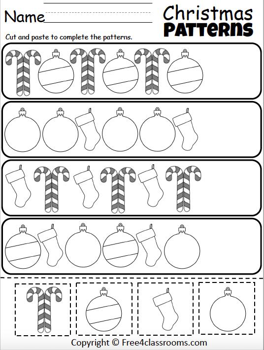 Free Christmas Pattern Worksheet