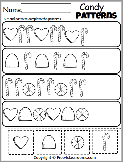 Free Cut And Paste Christmas Candy Patterns Worksheet