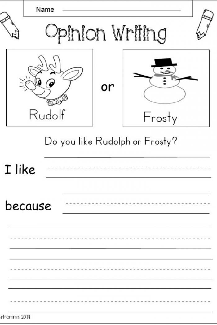 Free Kindergarten Christmas Writing Worksheet