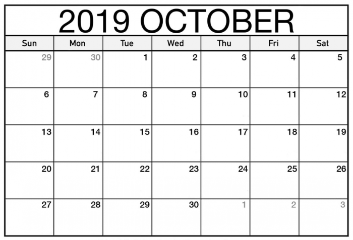 Free October Calendar Printable