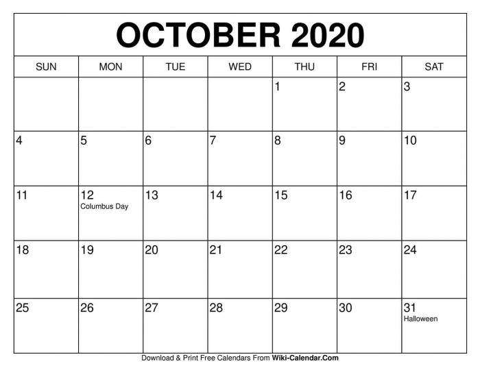 Free Printable October Calendars