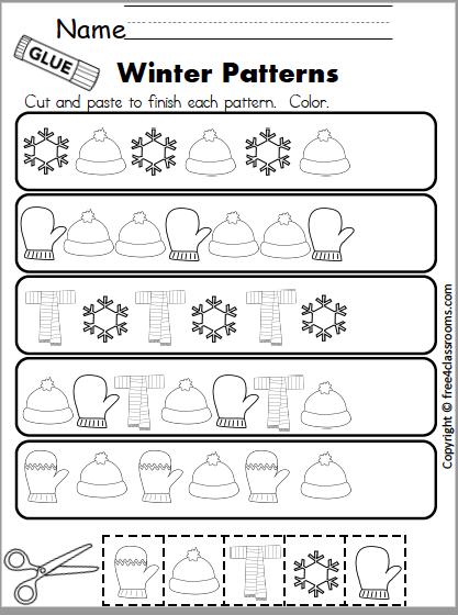 Free Winter Math Patterns