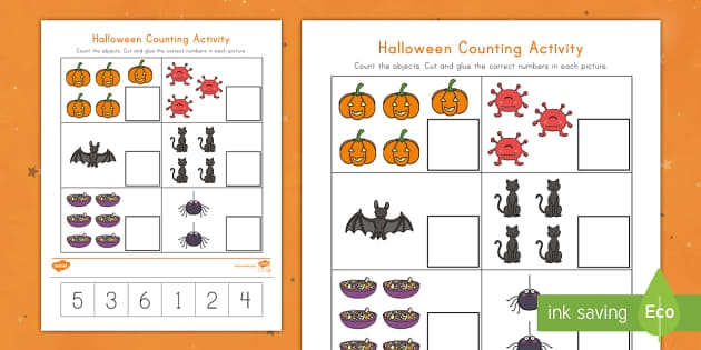 Halloween Counting Cut And Paste Activity Teacher Made