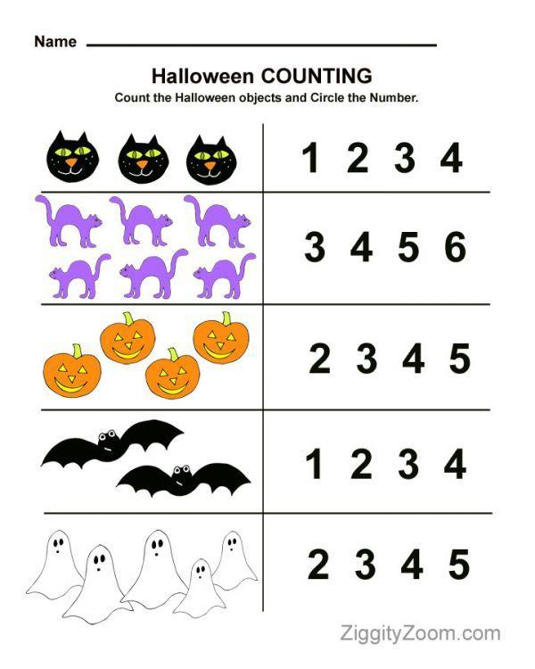 Halloween Counting Preschool Worksheet
