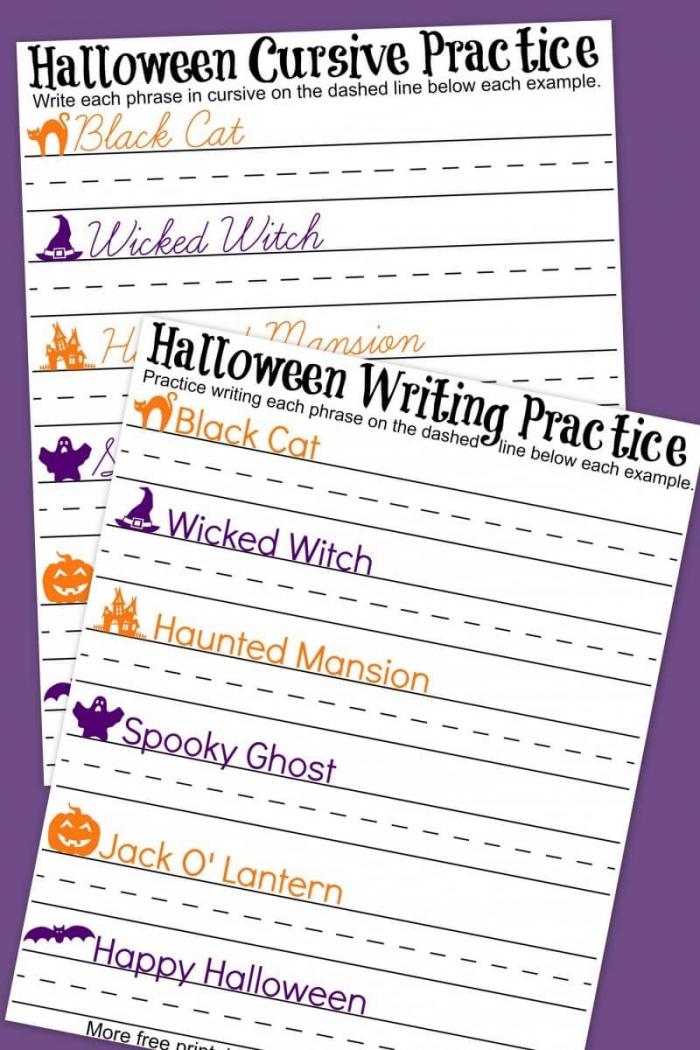 Halloween Cursive Handwriting Practice Worksheets