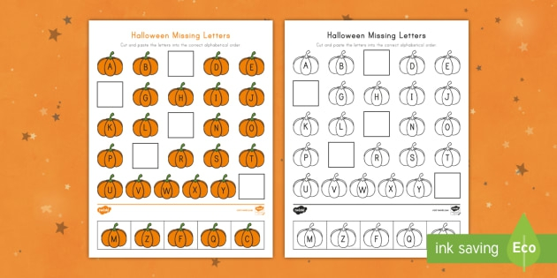 Halloween Missing Letters Cut And Paste Activity