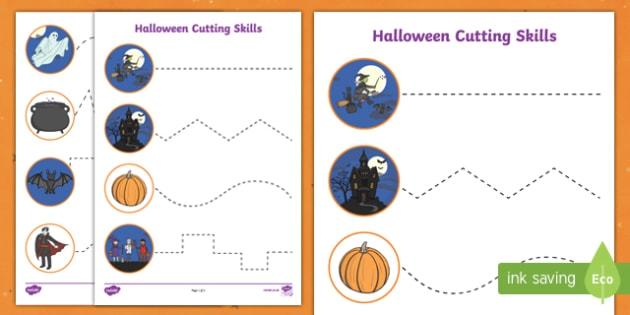 Halloween Themed Scissor Skills Worksheet Worksheets
