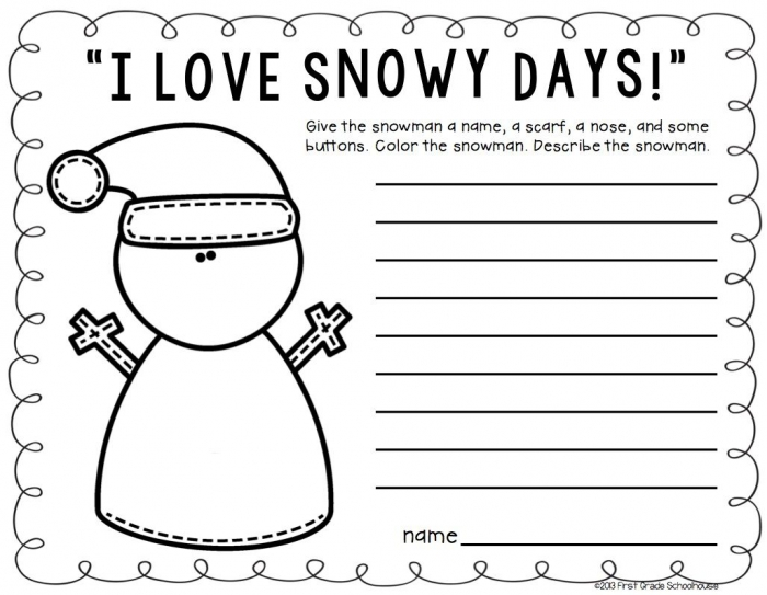 I Love Snowy Days Writing Winter Writing Activities For Second