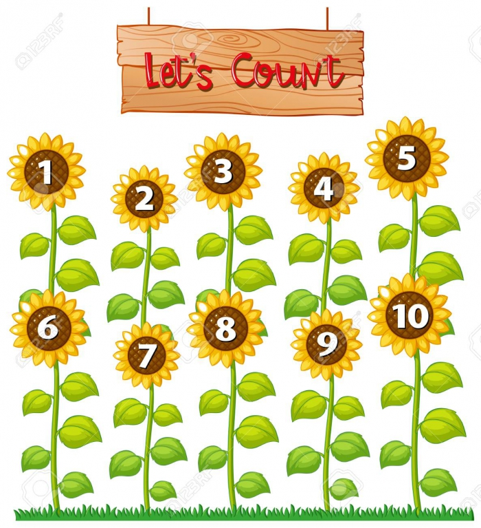 Lets Count Poster With Sunflowers Illustration Royalty Free